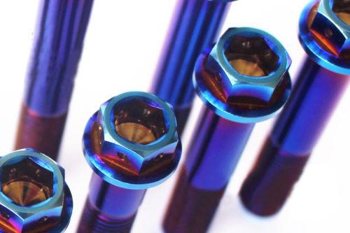 Titanium Motorcycle Flange Bolt M10 20//25//30//35//40//45//50//55//60//65//70//75mm Blue