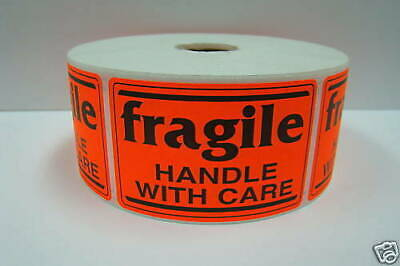500 Labels 2x3 Orange Fragile Handle With Care Shipping Mailling Stickers