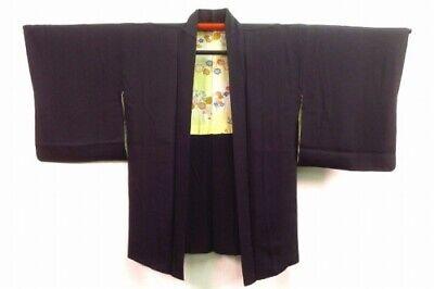 Vintage Japanese Ladies' Black Silk Kimono Haori Jacket 'Sayagata Pattern' XS/S