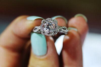 14K White Gold 1.65 Ct Round Cut Womens Wedding Engagement Diamond Ring