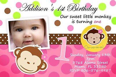 MOD MONKEY BIRTHDAY PARTY INVITATION PHOTO 1ST BABY SHOWER CUSTOM - 9 DESIGNS !