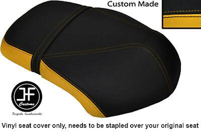 YELLOW AND BLACK VINYL CUSTOM FITS <em>YAMAHA</em> XF 50 GIGGLE DUAL SEAT COVER