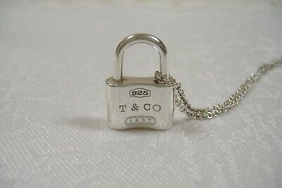 Tiffany & Co. Sterling Silver 1837 Collection Lock Charm Pendant Necklace