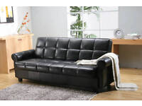 ITALIAN PU LEATHER SOFA BED SETTEE WITH OTTOMAN STORAGE SPACE BLACK OR BROWN
