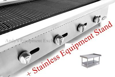 48 Wide Natural Gas Commercial Char Rock Food Grill Broiler Plus Nsf Stand