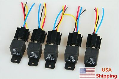 5pcs 12v 40a 40 A Spst Auto Relay Socket 4pin 4p 4 Wire Black For Car