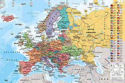 Map Of Europe Poster  61X91cm  Educational Wall Chart Picture Print New Art