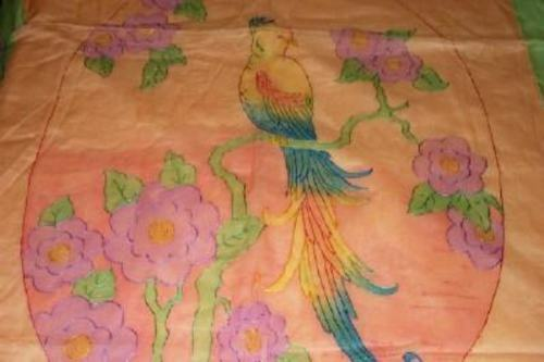 1920s ART DECO FRENCH BEDSPREAD ORGANDY TINTED SET 3 PIECE RUNNER PILLOW COVER