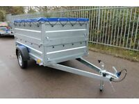 Car Trailer 7.74 x 4.10 FT + double broadside + flat top cover