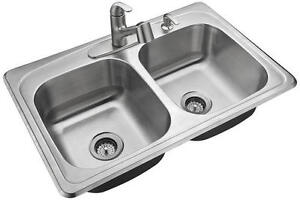 "NEW Tuscany All-in-1 Top Mount 33"" Stainless Steel Kitchen Sink"
