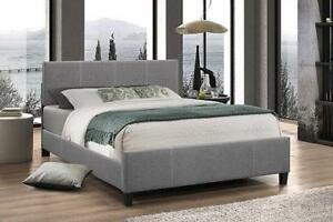 Light Grey Fabric Bed With Contrast Stitching  web exclusive deal (IF702)