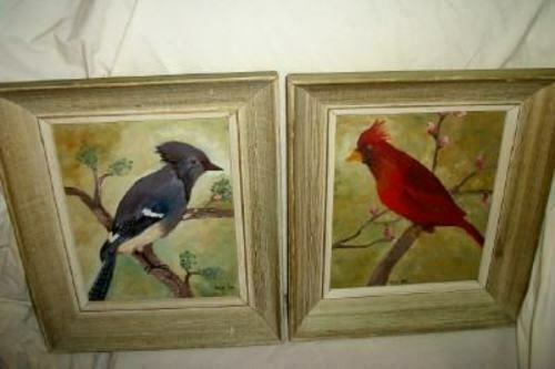 VINTAGE BIRD OIL PAINTING PAIR CARDINAL BLUE JAY PERIOD FRAMES MID CENTURY