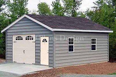 18 x 28 Car Garage / Workshop Shed Building Plans, Material List Included #51828