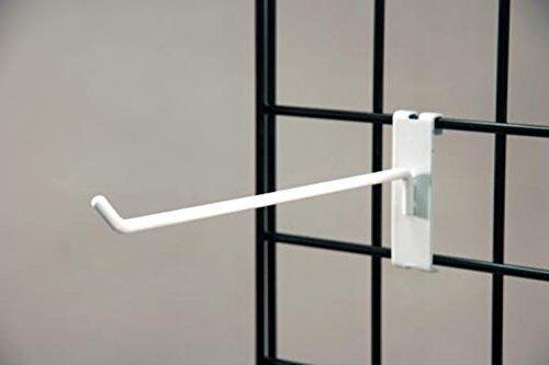 """Commercial Grade Gridwall Hooks, 12"""" Grid Panel Peg Hooks, White (Pack of 50)"""