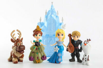 Cake Figurines Kids (Elsa Anna Kristoff Olaf Sven w/Castle 6 Pcs Figures Figurines Toy Cake)