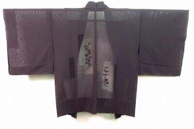 Vintage Japanese Black See-Thru Gauze Summer Kimono Jacket 'Floral Cutwork' MED