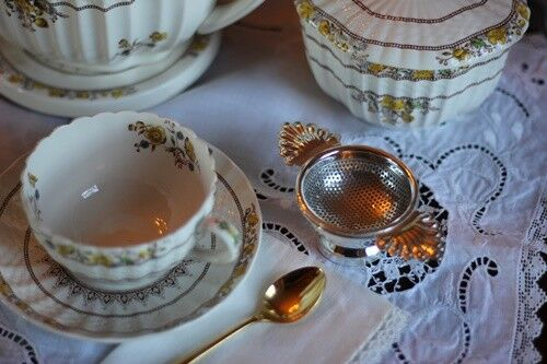 Tea Strainer, Silver Plated w/ Drip Bowl, Antique Reproduction, Chelsea