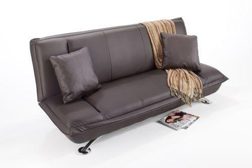 2 seater brown leather sofa bed ebay