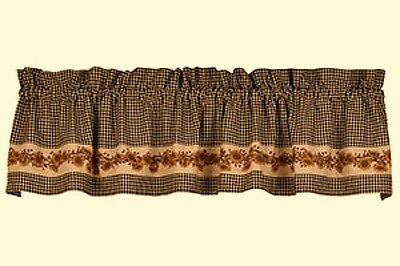 New Primitive Country Cottage Chic Black Check SUNFLOWER Curtain Valance