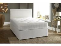 NEW STOCK=.ALL SIZES AVAILABLE BLACK&WHITE DOUBLE DIVAN BED BASE! DRAWERS & HEADBOARD OPTIONAL