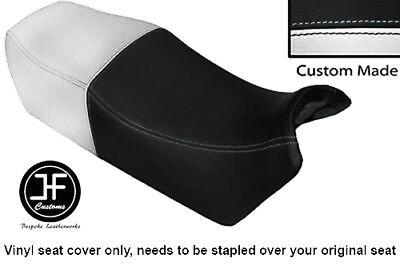 BLACK AND WHITE VINYL CUSTOM FITS <em>YAMAHA</em> FJ 1100 84 86 DUAL SEAT COVER