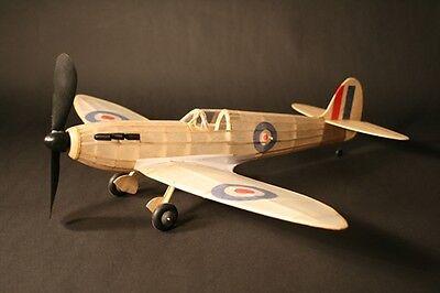 Spitfire complete model rubber powered balsa wood aircraft kit that flies plane
