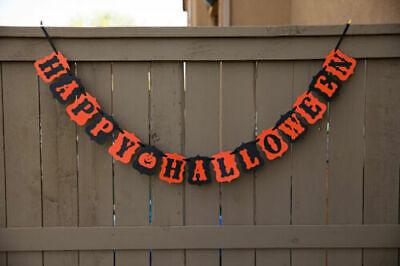 Happy Halloween Party Decor - Banner Garland Orange and Black Cardstock Easy DIY