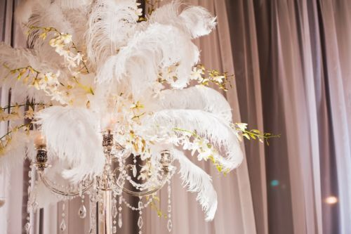 20 Pcs White Ostrich Feathers For Wedding Centerpiece Eiffel Tower