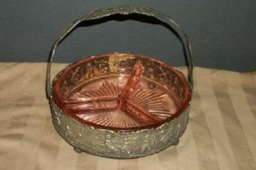 ANTIQUE SILVERPLATED DUTCH SCENES REPOUSSE BASKET STARBURST GLASS PAYE & BAKER