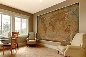 Giant World Map Poster Vintage Photo Wall Paper Mural Hanging Extra Large Globe