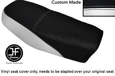 BLACK AND WHITE VINYL CUSTOM FITS <em>YAMAHA</em> DT 50 MX DUAL SEAT COVER ONLY