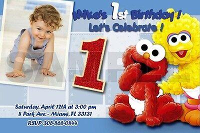 Sesame Street Photo Invitations (ELMO SESAME STREET BIRTHDAY PARTY INVITATION PHOTO 1ST BABY- BABIES FIRST -)