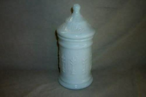 VINTAGE MILK GLASS APOTHECARY BATH JAR Pressed Pattern Chic French Shabby