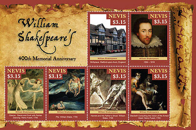 Nevis - 2016 William Shakespeare memorial Sheetlet of 6 stamps MNH