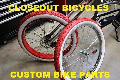 Two Duro 26 X3  Red   Ww Beach Bum Cruiser Chopper Balloon Fat Bicycle Bike Tire
