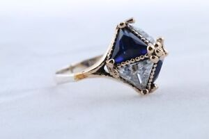 925 Sterling Silver & brass handmade sapphire topaz ring Cambridge Kitchener Area image 4
