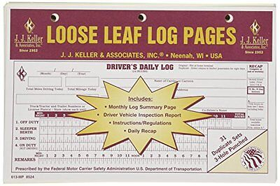 10-pack Jj Keller Duplicate Loose Leaf Log Pages -drivers Daily Log Book 613-mp