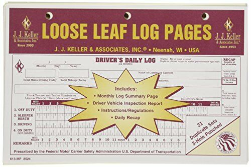 10-PACK JJ Keller Duplicate Loose Leaf Log Pages -Driver
