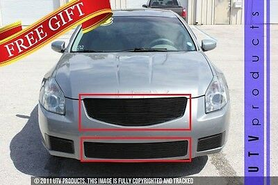 GTG Gloss Black 2PC Replacement Billet Grille Kit fits 2007 - 2008 Nissan Maxima ()