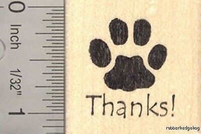 Thank you Paw Print Rubber Stamp D16707 WM  - Paw Print Stamp