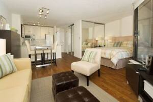 Large, Bright, Corner, Fully Furnished Studio in Downtown Vancou