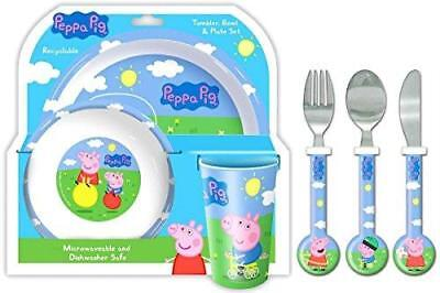 NEW Peppa Pig and George 6 Piece Tableware Dinner and Cutlery Set  - George Pig