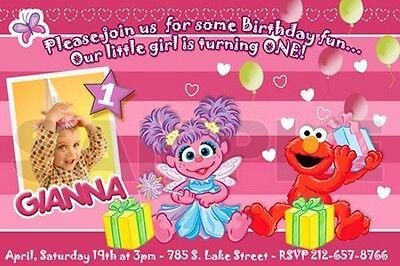 Sesame Street Photo Invitations (ELMO SESAME STREET BIRTHDAY PARTY INVITATION PHOTO 1ST C9 - abby cadabby)