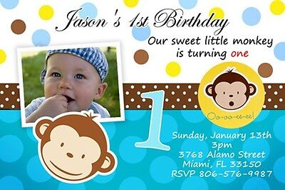 MOD MONKEY BIRTHDAY PARTY INVITATION PHOTO 1ST BABY SHOWER CUSTOM BOY DOTS C2