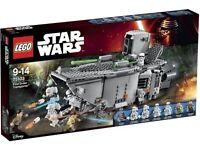 Retired Set: Star Wars Lego First Order Transporter 75103. Includes rare Captain Phasma minifig