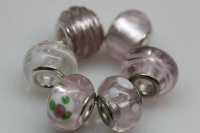 "Set of 6 Charms ""Beautiful Pink"" Murano Glass Beads Charms & Charm Bracelets"