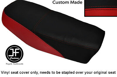 BLACK AND DARK RED VINYL CUSTOM FITS <em>YAMAHA</em> DT 50 MX DUAL SEAT COVER O