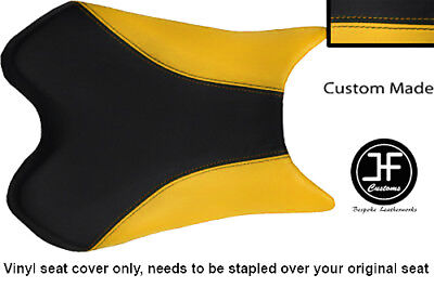 BLACK AND YELLOW VINYL CUSTOM FOR <em>YAMAHA</em> 1000 YZF R1 FRONT SEAT COVER