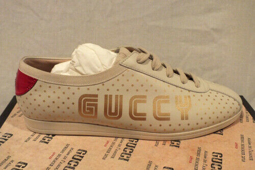 NIB AUTH GUCCI women IVORY Leather SNEAKERS shoes GUCCY Lace up IT 38.5  8.5 US