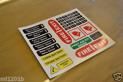 Narrowboat Canal Boat Cruiser Safety Labels Stickers Decals Graphics SET